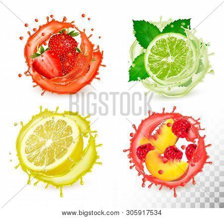 Set Of Fruit In Juice Splash. Strawberry,  Mint, Lime, Raspberry, Peach, Grapefruit And Raspberry. V