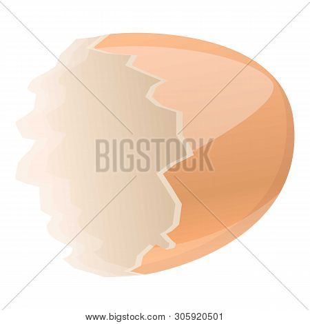 Half empty eggshell icon. Cartoon of half empty eggshell vector icon for web design isolated on white background poster