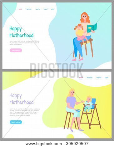 Motherhood Online, Mother Sitting With Daughter On Chair And Reading Book Together, Mom Feeding With