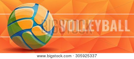 Volleyball Concept Banner. Cartoon Illustration Of Volleyball Vector Concept Banner For Web Design