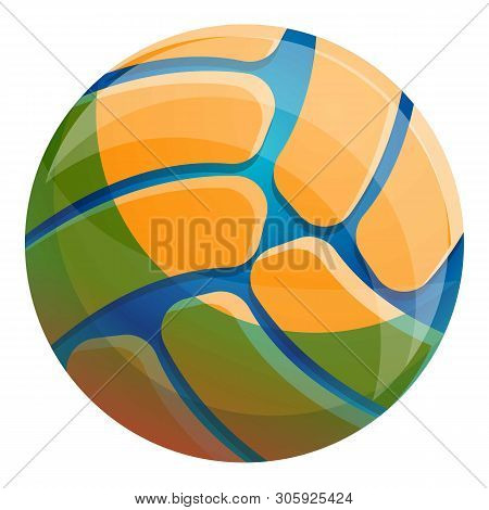 Volleyball Ball Icon. Cartoon Of Volleyball Ball Vector Icon For Web Design Isolated On White Backgr