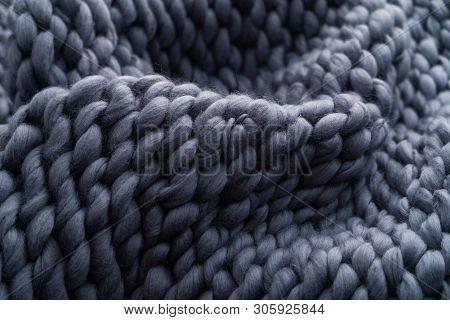 Merino Wool Handmade Knitted Large Blanket, Super Chunky Yarn, Trendy Concept. Close-up Of Knitted B
