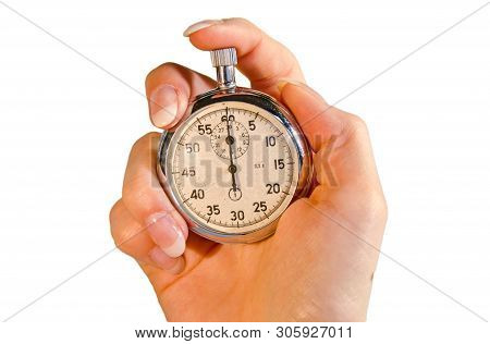 Female Hand Using A Stopwatch In Front Of White Background
