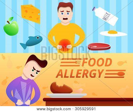 Food Allergy Banner Set. Cartoon Illustration Of Food Allergy Vector Banner Set For Web Design