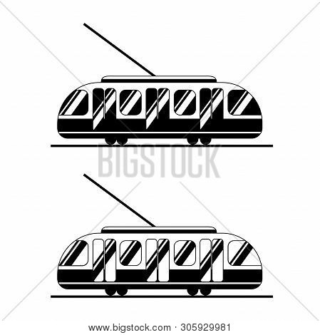 Icons Tram Black And White. Public Transport In Two Options Silhouettes. Logo For Sites And Banners.