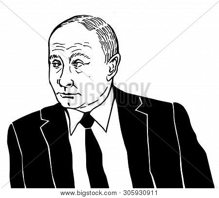 Moscow, Russia - 06 10 2019: President Of Russia Vladimir Putin, Black And White Illustration, Caric