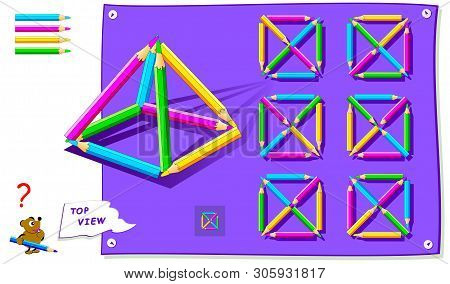 Logic Puzzle Game For Kids. Need To Find Correct Top View Of Pyramid Of Pencils. Worksheet For Schoo
