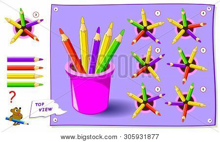 Logic Puzzle Game For Kids. Need To Find Correct Top View Of Pencils. Worksheet For School Textbook.