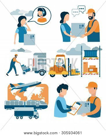 Concept For Delivery Service, E-commerce, Online Shopping, Receiving Package From Courier To Custome