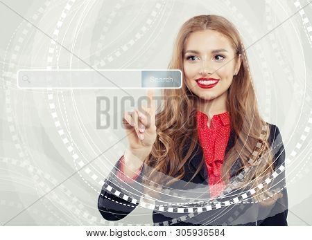 Happy Business Woman Pointing To Empty Address Bar In Virtual Web Browser. Seo, Internet Marketing,