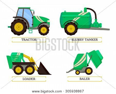 Slurry Tanker And Tractor Isolated Icons Set Vector. Loader And Baler Agricultural Agro Mechanisms A