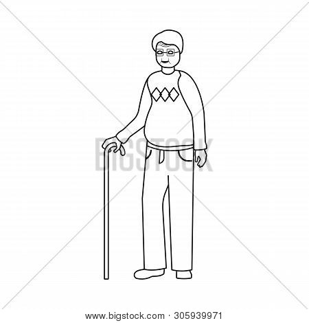 Vector Illustration Of Grandfather And Old Logo. Set Of Grandfather And Grandpa Vector Icon For Stoc