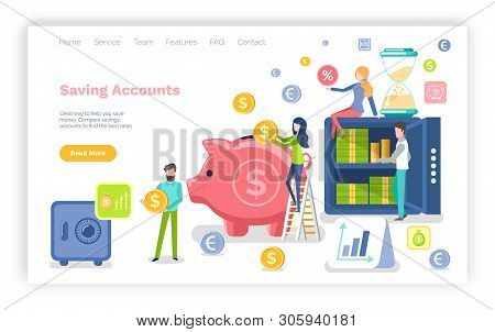 Saving Accounts Vector, Pig And Money, Investment And Profit Gaining Benefits. Infographics And Stro