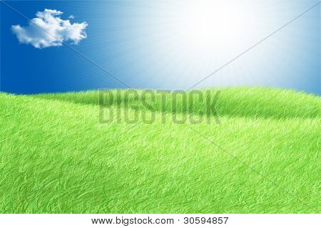 Green Field Blue Sky White Cloud And Sun Rays