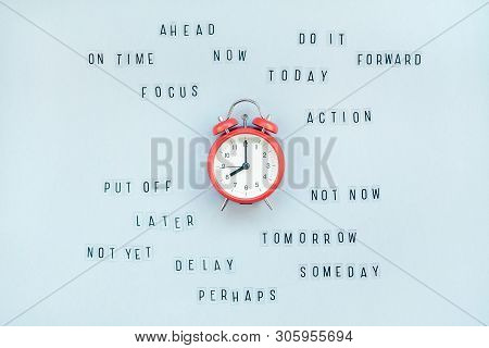 Creative Top View Flat Lay Of Alarm Clock With Messages About Delay Or Starting Doing Task Copy Spac