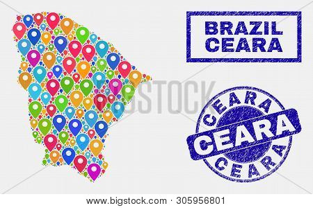 Vector Colorful Mosaic Ceara State Map And Grunge Seals. Flat Ceara State Map Is Designed From Scatt