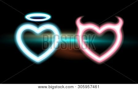 Heart Set Neon Blue, Pink Radiant Horned Devil, Glow Halo Angel For Valentines Day, Halloween. Icon
