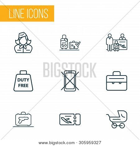 Traveling Icons Line Style Set With Passenger At Registration, Flight Ticket, Suitcase And Other Che