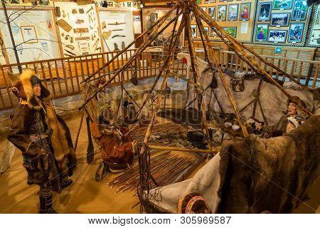 Esso, Kamchatka Peninsula, Russia- 02 October 2014: Interior Of The Ethnographic Museum. Example Of