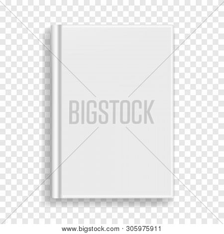 White Blank Rectangular Vector Blank Realistic Book, Closed Organizer Or Photobook Cover Template Wi