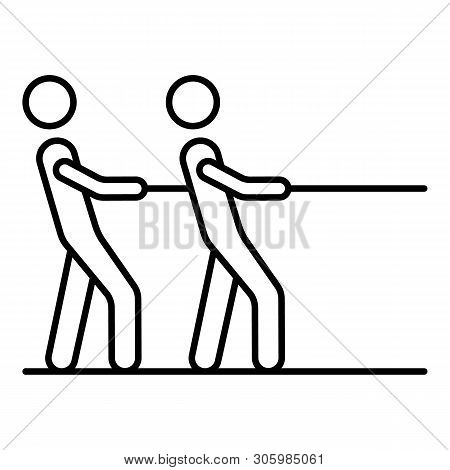 Two Man Tug Of War Icon. Outline Two Man Tug Of War Vector Icon For Web Design Isolated On White Bac