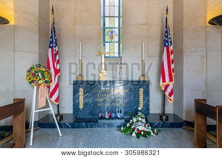 Hamm Near Luxembourg City, Luxembourg - August 22, 2018: Interior Chapel At American Ww2 Cemetery Wi