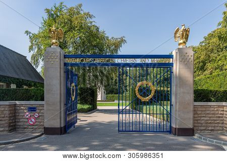 Hamm Near Luxembourg City, Luxembourg - August 22, 2018: Entrance American Ww2 Cemetery With Iron Ga