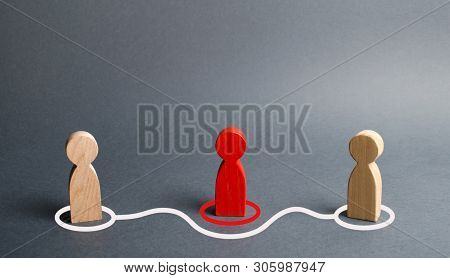 Two Human Figurines Contact Around The Red Figurine. Direct Negotiations Without Intermediaries. Ref