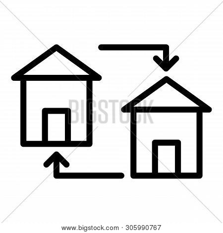 Housing Exchange Icon. Outline Housing Exchange Vector Icon For Web Design Isolated On White Backgro