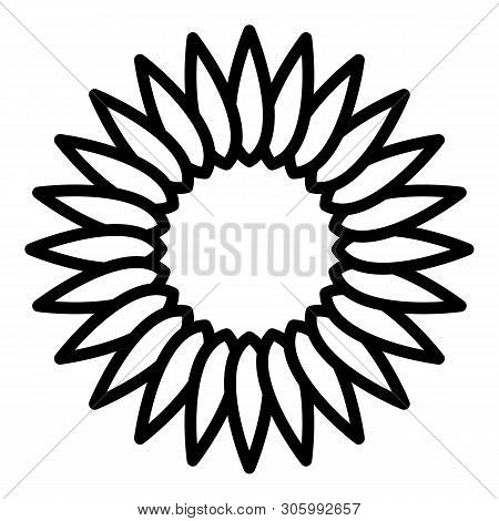 Sunflower Inflorescence Icon. Outline Sunflower Inflorescence Vector Icon For Web Design Isolated On