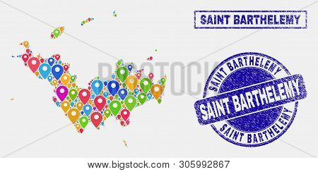Vector Colorful Mosaic Saint Barthelemy Map And Grunge Stamp Seals. Abstract Saint Barthelemy Map Is