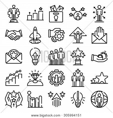 Opportunity Icons Set. Outline Set Of Opportunity Vector Icons For Web Design Isolated On White Back