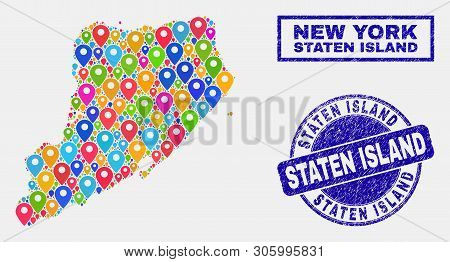 Vector Bright Mosaic Staten Island Map And Grunge Seals. Abstract Staten Island Map Is Designed From