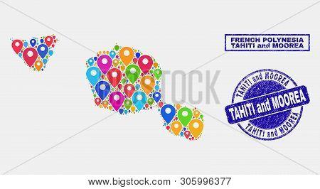 Vector Colorful Mosaic Tahiti And Moorea Islands Map And Grunge Stamp Seals. Abstract Tahiti And Moo