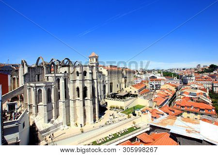 Convento Do Carmo In Lisbon, Portugal, Seen From The Santa Justa Lookout