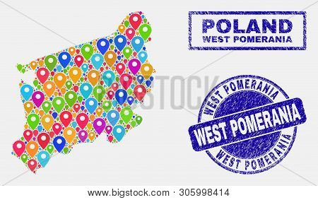 Vector Colorful Mosaic West Pomeranian Voivodeship Map And Grunge Stamp Seals. Flat West Pomeranian