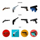 Vector design of revolver and pistol logo. Collection of revolver and trigger stock vector illustration. poster