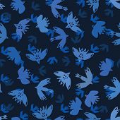 Indigo blue abstract birds flying cut out shapes. Vector pattern seamless background. Hand drawn matisse style collage graphic illustration. Trendy home decor, avian sky fashion prints, wallpaper. poster