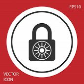 Grey Safe combination lock wheel icon isolated on red background. Combination padlock. Security, safety, protection, password, privacy concept. White circle button. Vector Illustration poster