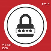 Grey Password protection and safety access icon isolated on red background. Lock icon. Security, safety, protection, privacy concept. White circle button. Vector Illustration poster