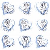 Attractive pregnant woman body silhouette drawings. Vector illustration of mother-to-be fondles her belly. Happiness and caress concept. poster