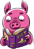 A cartoon pig reads a diet book. poster