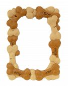 Dog bone frame over white poster