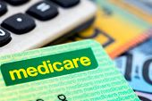 Australian Medicare card with calculator and cash background. poster