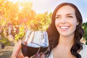 Beautiful Young Adult Woman Enjoying Glass of Wine Tasting Toast In The Vineyard with Friends. poster