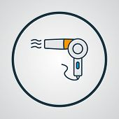 Vintage hairdryer icon colored line symbol. Premium quality isolated blow dryer element in trendy style. poster