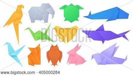 Paper Animals. Japanese Origami Folded Toys Birds, Fox, Butterfly, Parrot And Hare. Cartoon Geometri