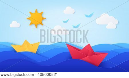 Paper Sea With Boats. Origami With Ocean Waves, Ships, Blue Sky, Sun, Birds And Clouds. Summer Day S