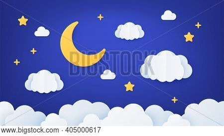 Paper Art Night Sky. Origami Dream Landscape Scene With Moon, Stars And Clouds. Paper Cut Cartoon De