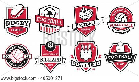 Ball Sports Logo. Badges For American Football, Soccer And Basketball League. Volleyball And Bowling